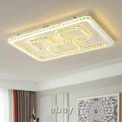 Modern Rectangle LED Crystal Ceiling Light Pendant Chandelier Lamp Living Room