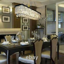 Modern Simple Restaurant rectangle K9 Crystal chandeliers LED Ceiling Lamp #0702
