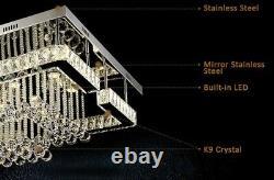 Modern Square Large LED Crystal Ceiling Chandelier Light Lamp Ceiling LED Light