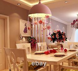 NEW Rose Pink Flower Chandelier Light Crystal Pendant Lamp Ceiling GIFT