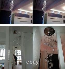 New Luxury K9 Crystal RainDrop Spiral Pendant Lamp Ceiling Light Lighting Loft
