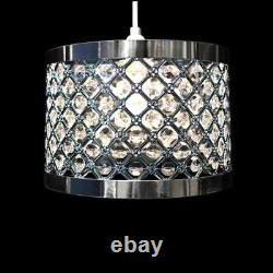 New Modern Silver Moda Crystal Bead Luxury Ceiling Pendant Light Shade & Fitting