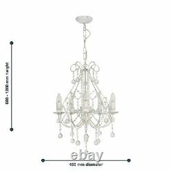 Pair of Modern Crystal Chandeliers in White Ceiling Pendant Lights Lounge