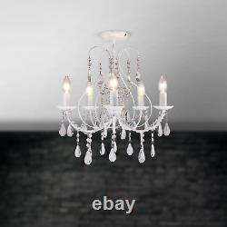Pair of White & Crystal 5 Light Ceiling Chandelier Lights Lounge BHS Sapparia