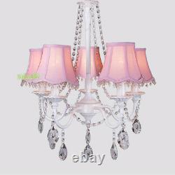 Pink Lamp Shade Girls Room Lighting 5 Light Crystal Kids Room Ceiling Chandelier