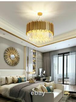 Raindrop Gold Modern Crystal Chandelier Luxury Pendant Ceiling Lighting Fixture