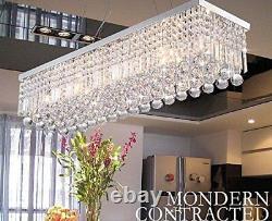 Rectangular 5 Lights Pendent Lamp Clear Crystal&Glass Ceiling Light Chandelier
