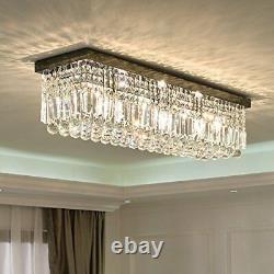 Rectangular Raindrop Crystal Chandelier Ceiling Light Flush Mount Lamp Fixture