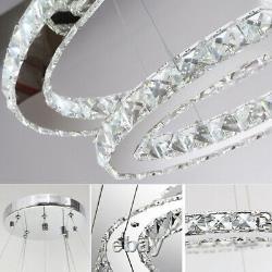 Remote LED Crystal Ring Chandelier Light Pendant Lamp Ceiling Living Dining Room