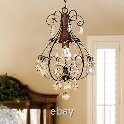 Rustic Crystal Chandelier Teardrop Hanging Pendant Ceiling Antique Fixture S