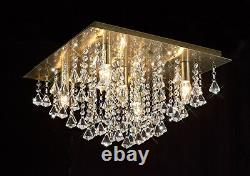 SALE Ant. Brass Flush Ceiling Light With Stunning Crystal Prism Droplets 5xLED