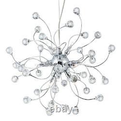 Searchlight 12 Light Halogen Chrome Ceiling Pendant Crystal Balls Trimmings New