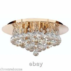 Searchlight 3404-4go Hanna Gold Finish 4 Lamp Flush Ceiling Light Crystal Balls