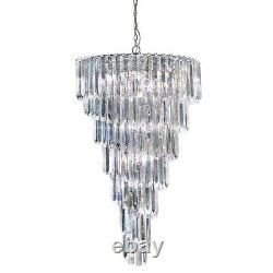 Searchlight 9 Lights Chrome Spiral Acrylic Chandelier Ceiling Pendant Light New