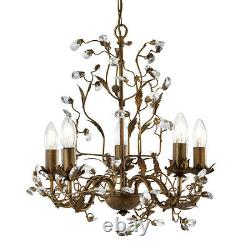 Searchlight Almandite 5 Light Traditional Brown Gold Crystal Ceiling Chandelier