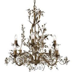 Searchlight Almandite 8 Light Traditional Brown Gold Crystal Ceiling Chandelier