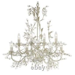 Searchlight Almandite 8 Lights Cream Gold Crystal Ceiling Fitting Chandelier New