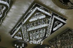 Square Clear Crystal Chandelier Ceiling Lamp G9+LED Flush Mount Lighting Chrome