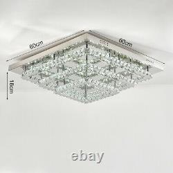 Square LED Ceiling Light 60cm 3 Tier Crystal Pendant Large Kitchen Bedroom Lamp