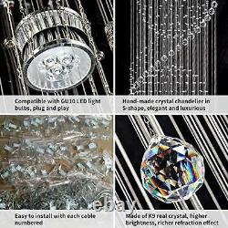 Staircase Long Crystal Chandelier LED Spiral Sphere Rain Drop K9 Ceiling Glass