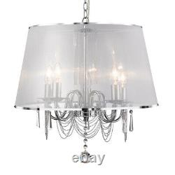 Venetian 5 Light Ceiling Pendant Light With White Viole Shade And Chain Link New