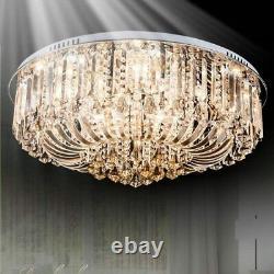 WDW 14 LED Light K9 Crystal Ceiling Light Chandelier, Chrome Finish 80cm D