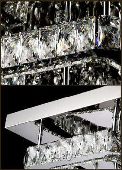 XL Square LED Crystal Ceiling Light Pendant Chandelier Lamp Living Room Bedroom