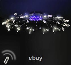XXL led crystal ceiling lamp RC + color change light 90cm chandelier 12 arms