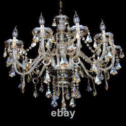 10 Bras Chandelier K9 Verre Cristal Plafonnier Lumière Bougie Pendentif Lampe E14 Cognac