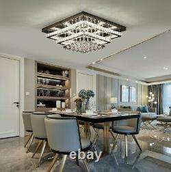 2 Tier Modern Square Grande Led Cristal Plafonnier Lampe De Chandelier Variable
