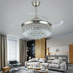36 42 Ventilateur De Plafond En Cristal Chandelier Avec Led Light Remote 4 Lames Rétractables