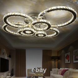 4/6/8 Anneaux Led Cristal Plafond Lumière Salon Chandelier Lobby Lampes Pendentif