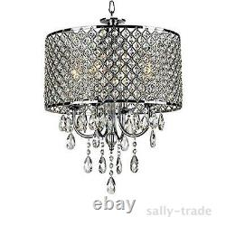 4 Light Chrome Metal Crystal Chandelier Pendentif Light Modern Ceiling Lamp Décor