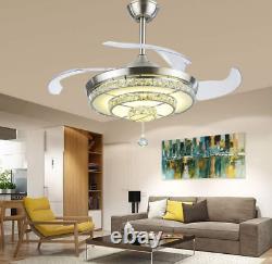 42 Argent Invisible Ventilateur De Plafond Lumière Led 3 Couleurs Changer Des Chandeliers En Cristal
