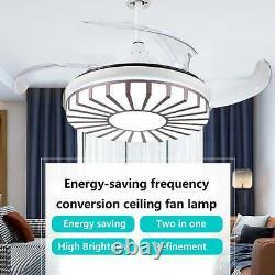 42'' Moderne Ventilateur De Plafond Lumière Led Variable Lampe À Lame Rétractable À Distance De 3 Vitesses