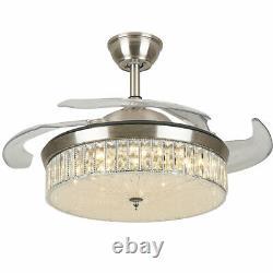 42'' Ventilateur De Plafond De Cristal Lumière Led Variable Lampe À Lame Rétractable 3speed Remote