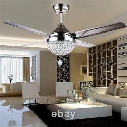 44 Ventilateur De Plafond En Acier Inoxydable Light Remote Control Crystal Led Chandeliers