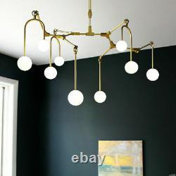 48''glass Bubble Modern Ceiling Chandelier Lumière 9-branches Pendentif Fixation De Lampe
