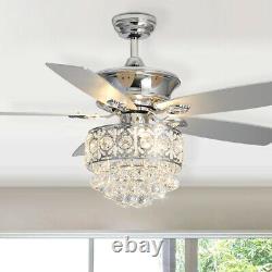 5-blades 52 Pouces Ventilateur De Plafond Led Lustre Avec Télécommande 3 Lampe Minuterie À Vitesse