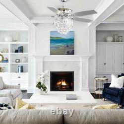52 Ventilateur De Plafond Avec Télécommande De Lumière 3 Vitesse 5 Minuterie De Lame Lampe Chandelier