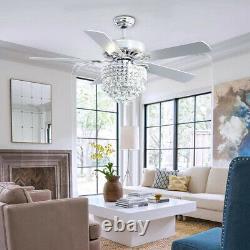 52inch 5 Lames Ventilateur De Plafond Cristal Lumières Led 3 Minuterie De Vitesse Avec Télécommande