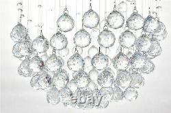 A1a9 Moderne Spiral Sphere Crystal Chandelier Spectaculaire Droplet Plafond Lumières