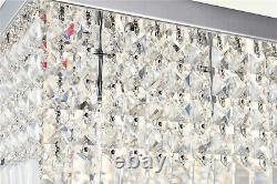 A1a9 Véritable Lustre En Verre Cristal Clair Rectangulaire 5 Lumières Lumière De Plafond