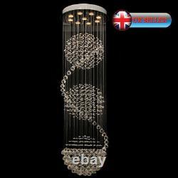 Aglow Int Modern Spiral Ceiling Pendentif Chandelier K9 Crystal Raindrop