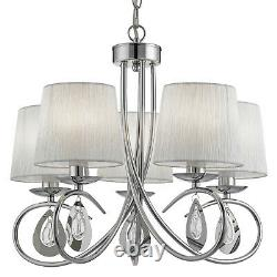 Angelique Chrome 5 Light Ceiling Pendentif Chandelier Fitting Ruffled Lamp Shades