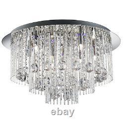 Beatrix Chrome Bleu Led Plafonnier Lumière Raccord Intérieur Éclairage Cristal Gouttes