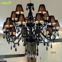 Bougie Moderne Black Crystal Chandelier Salon Pendentif Lumière Plafonnier Lampe