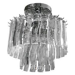 Catane Pendentif Acrylique Chrome Plafond Lumière Lumière Shade Chandelier Montage