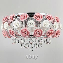 Céramique Moderne Lustre Rose Rose Fleur Verre Plafond Luminaires