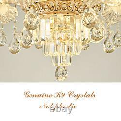 Chandelier Geniune K9 Cristal Bleu Céramique Or Bracelets En Métal Pendentif Plafonnier